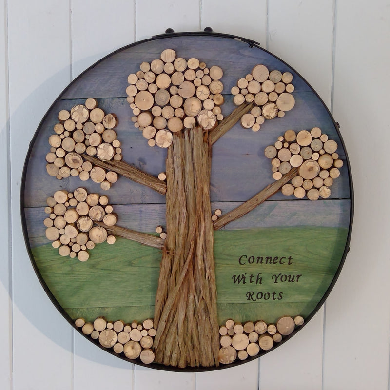 "Wood Slice Tree Art ""Connect With Your Roots"""