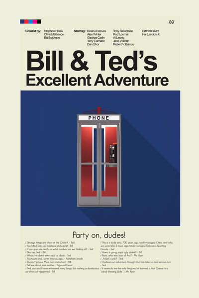Bill & Ted's Excellent Adventure Inspired Mid-Century Modern Print 12x18 | Print only