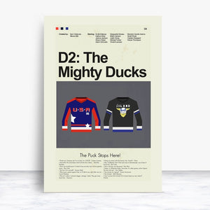 D2: The Mighty Ducks Inspired Mid-Century Modern Print 12x18 | Print only