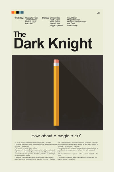 The Dark Knight Inspired Mid-Century Modern Print 12x18 | Print only