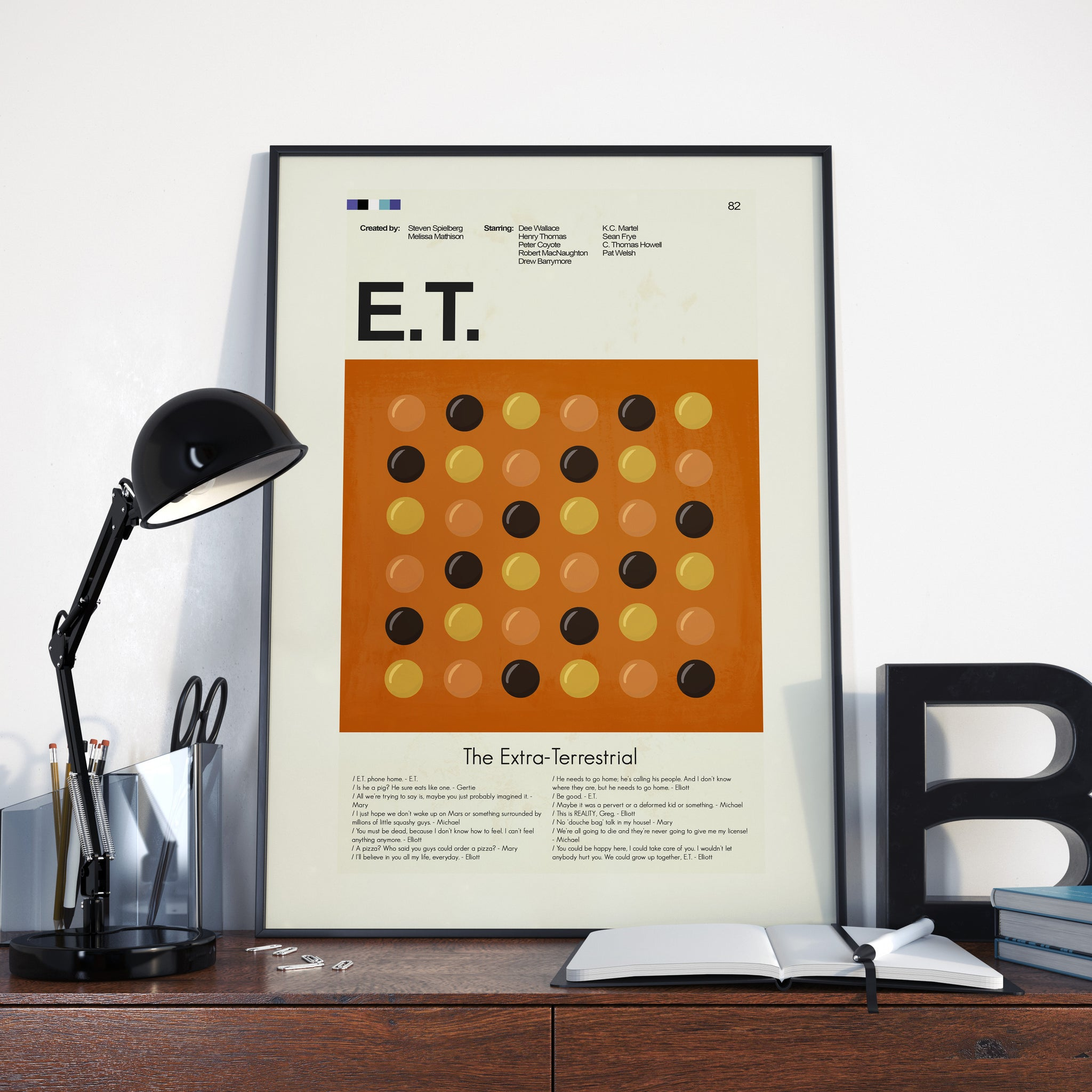 E.T. the Extra-Terrestrial Inspired Mid-Century Modern Print 12x18 | Print only
