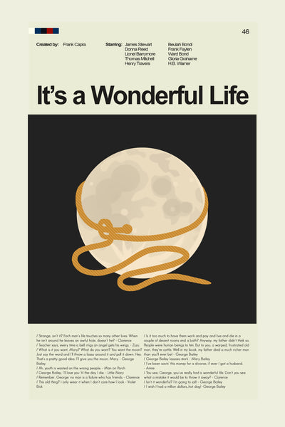 It's a Wonderful Life Inspired Mid-Century Modern Print 12x18 | Print only
