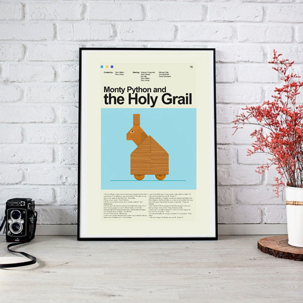 Monty Python and the Holy Grail Mid-Century Modern Print 12x18 | Print only