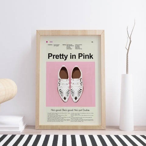 Pretty in Pink Inspired Mid-Century Modern Print 12x18 | Print only