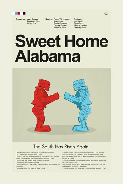 Sweet Home Alabama Inspired Mid-Century Modern Print 12x18 | Print only