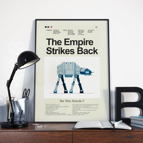 The Empire Strikes Back (Star Wars Episode V) Inspired Mid-Century Modern Print 12x18 | Print only