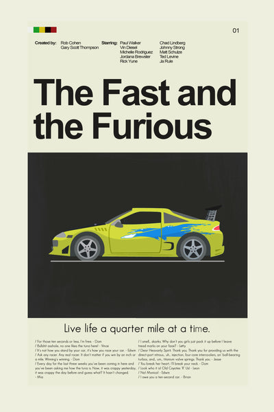 The Fast and the Furious Inspired Mid-Century Modern Print 12x18 | Print only