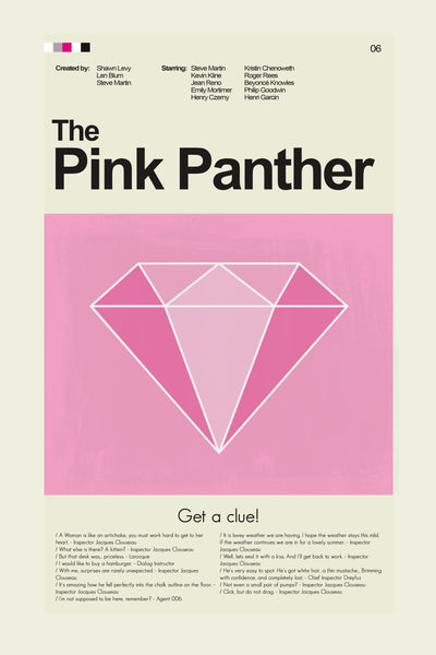 The Pink Panther Inspired Mid-Century Modern Print 12x18 | Print only