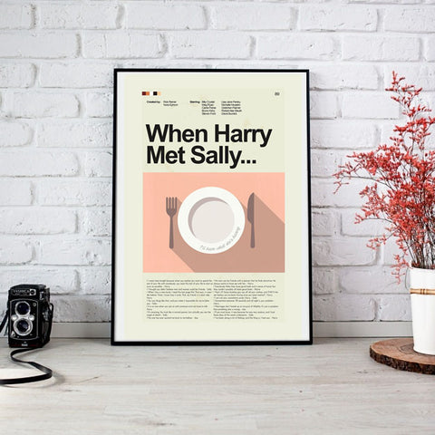 When Harry Met Sally Inspired Mid-Century Modern Print 12x18 | Print only