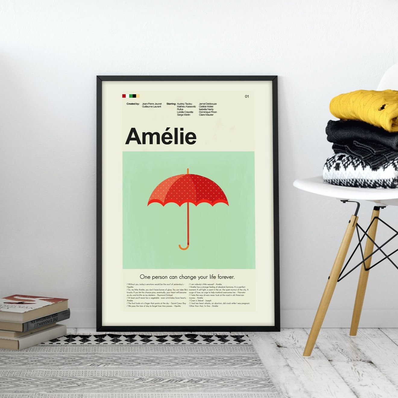 Amelie Inspired Mid-Century Modern Print 12x18 | Print only