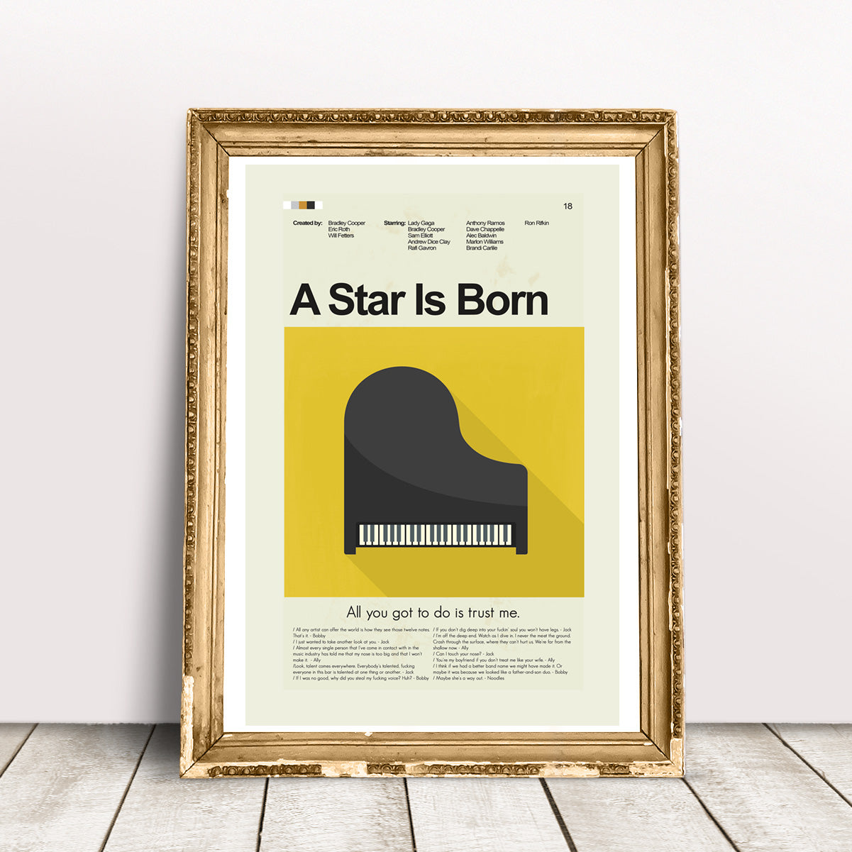 A Star Is Born Inspired Mid-Century Modern Print 12x18 | Print only
