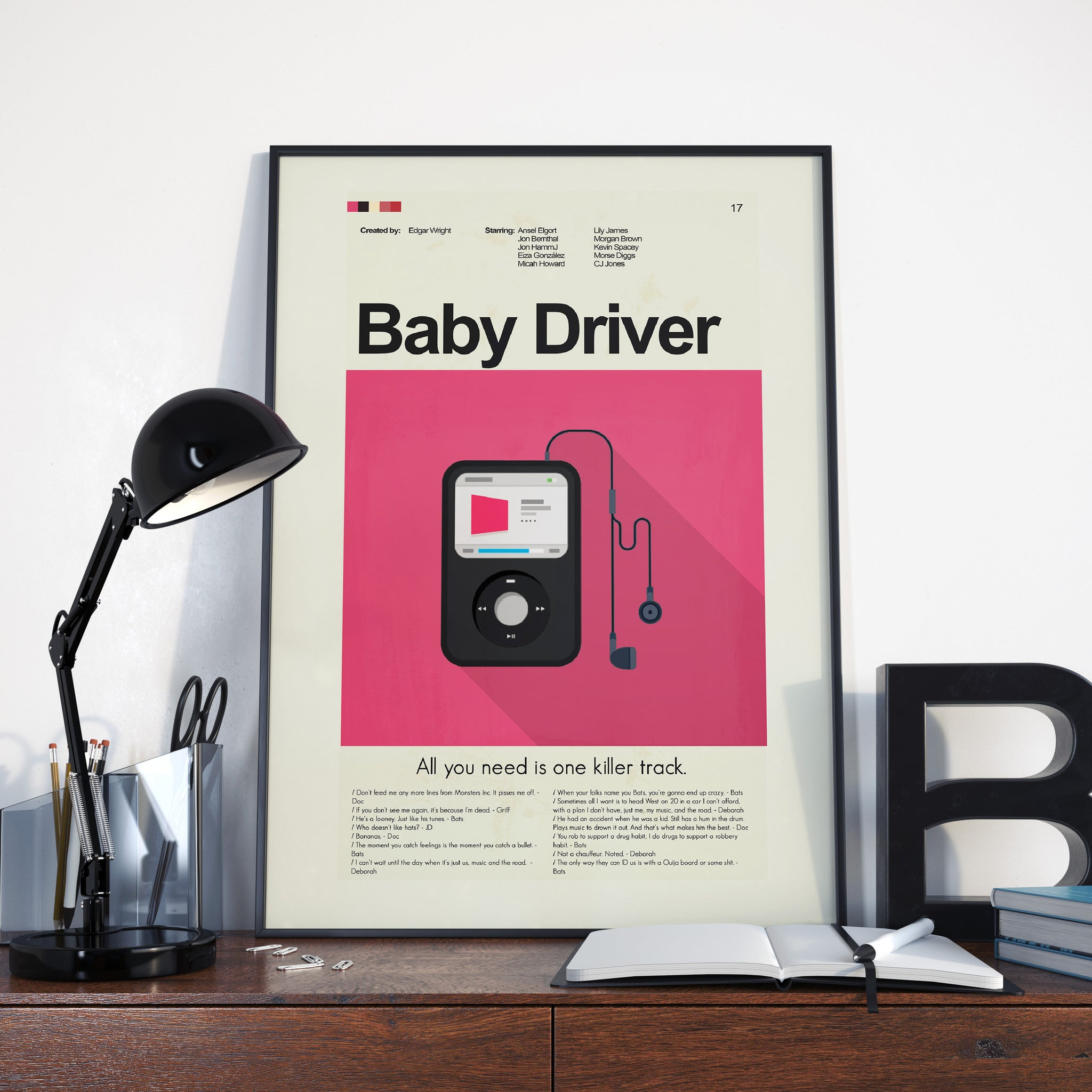 Baby Driver Inspired Mid-Century Modern Print 12x18 | Print only