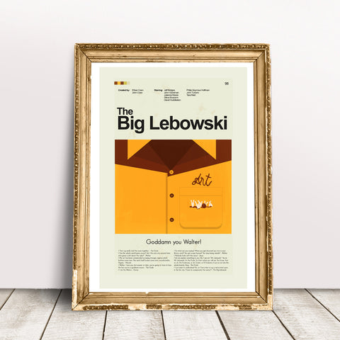 The Big Lebowski Inspired Mid-Century Modern Print 12x18 | Print only