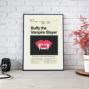 Buffy the Vampire Slayer (movie) Inspired Mid-Century Modern Print 12x18 | Print only