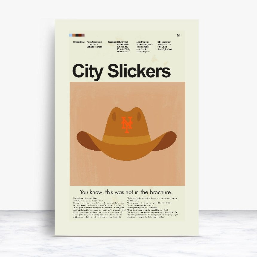 City Slickers Inspired Mid-Century Modern Print 12x18 | Print only
