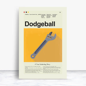 Dodgeball: A True Underdog Story Inspired Mid-Century Modern Print 12x18 | Print only