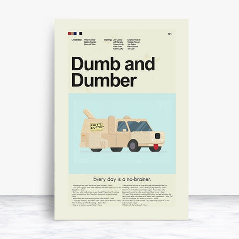 Dumb and Dumber Inspired Mid-Century Modern Print 12x18 | Print only