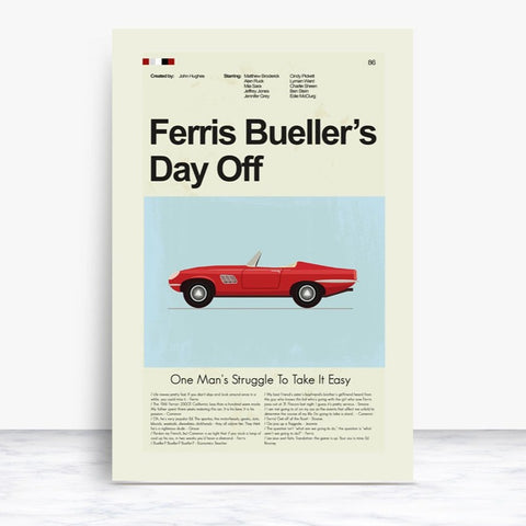 Ferris Bueller's Day Off Inspired Mid-Century Modern Print 12x18 | Print only