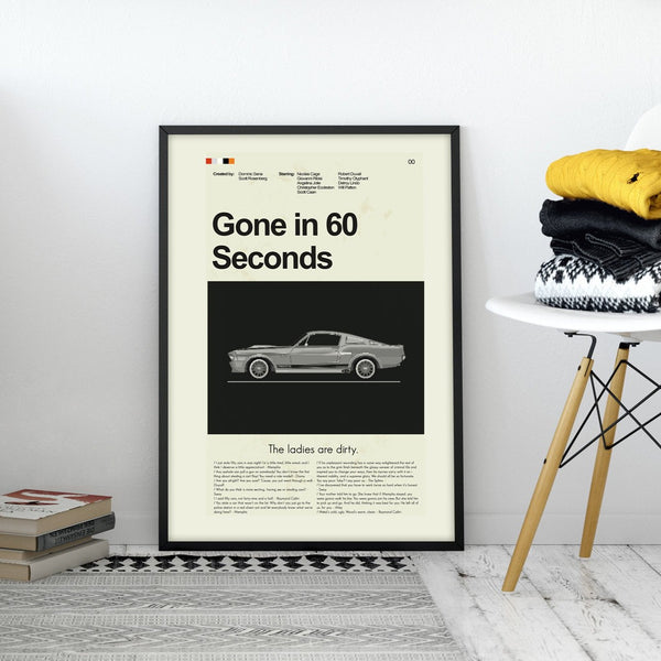 Gone in 60 Seconds Inspired Mid-Century Modern Print 12x18 | Print only