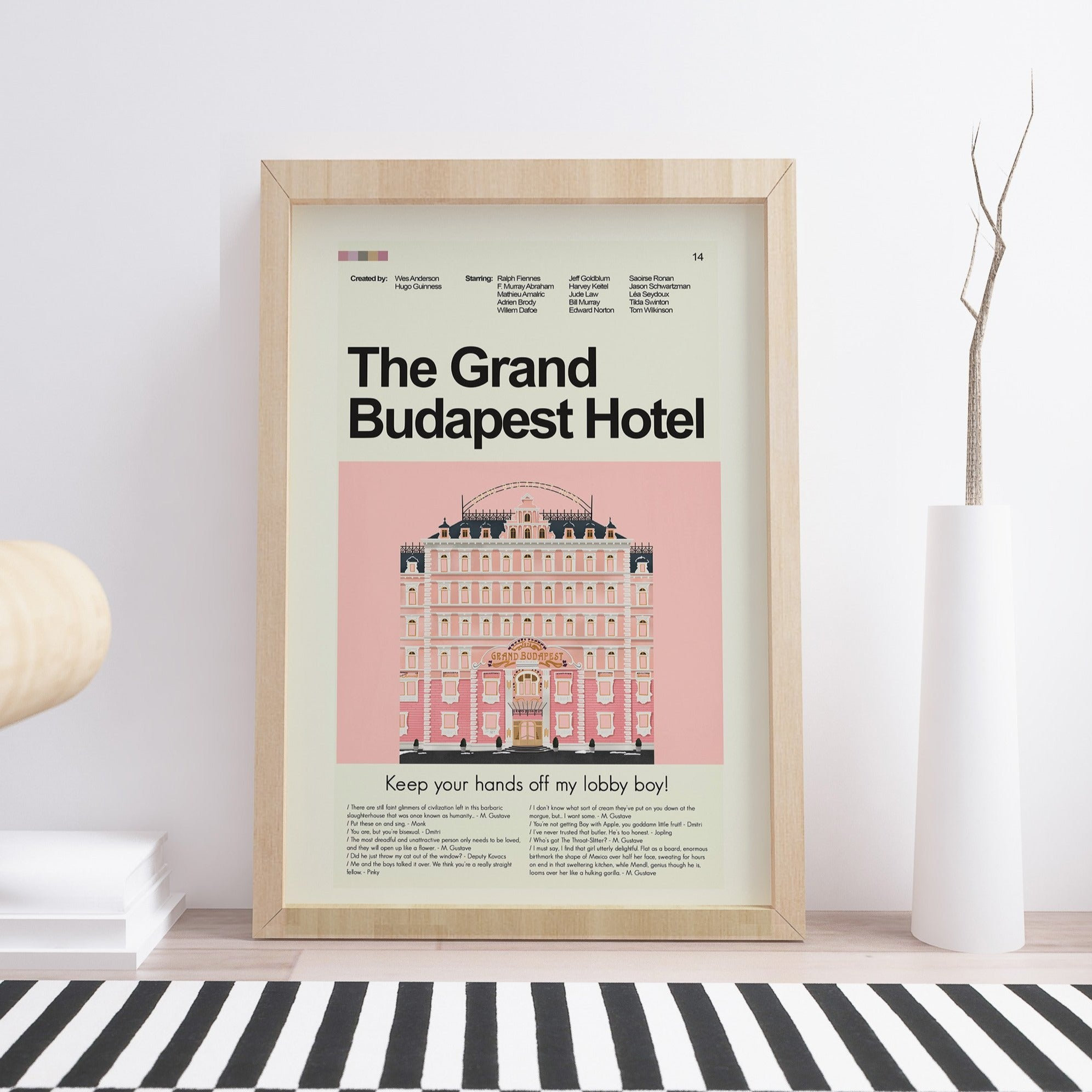 The Grand Budapest Hotel Inspired Mid-Century Modern Print 12x18 | Print only