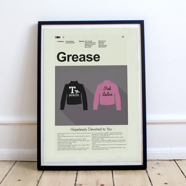 Grease Inspired Mid-Century Modern Print 12x18 | Print only