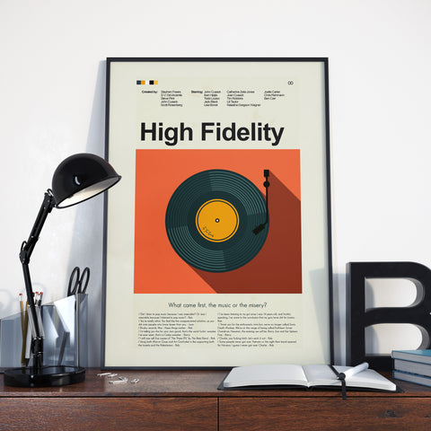 High Fidelity Inspired Mid-Century Modern Print 12x18 | Print only