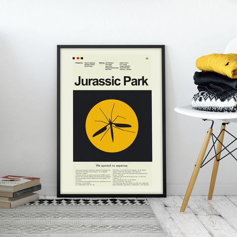 Jurassic Park Inspired Mid-Century Modern Print 12x18 | Print only