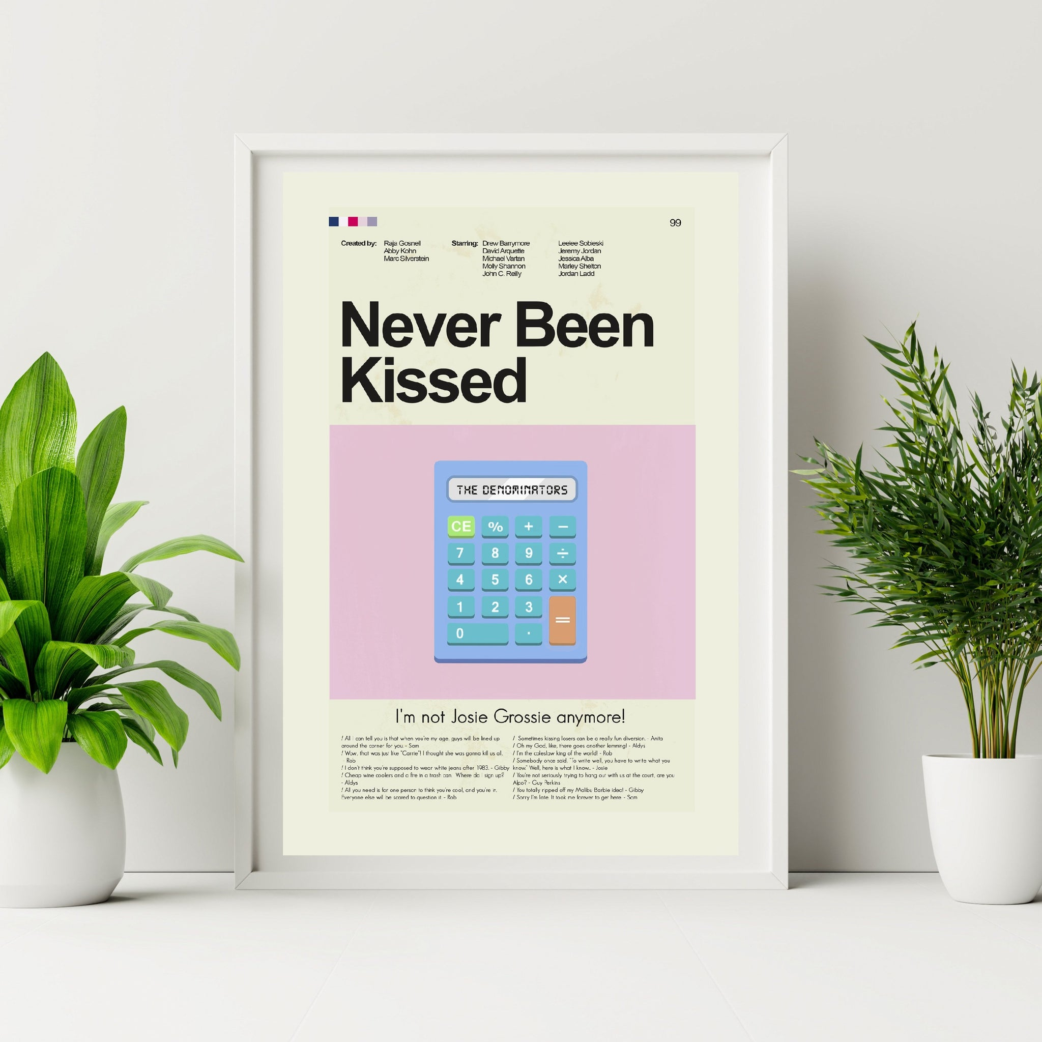 Never Been Kissed Inspired Mid-Century Modern Print 12x18 | Print only