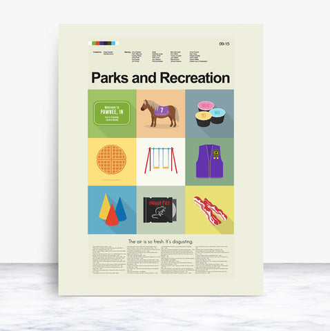 "Parks and Recreation - The Series Mid-Century Modern Print LARGE | 18""x24"" Print only"