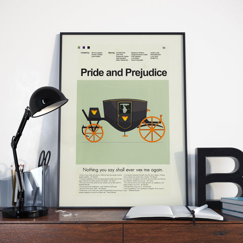 Pride and Prejudice - BBC Inspired Mid-Century Modern Print 12x18 | Print only