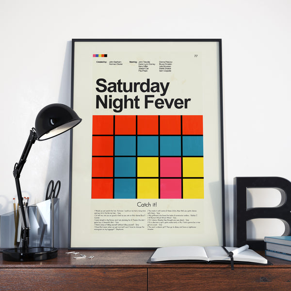 Saturday Night Fever Inspired Mid-Century Modern Print 12x18 | Print only