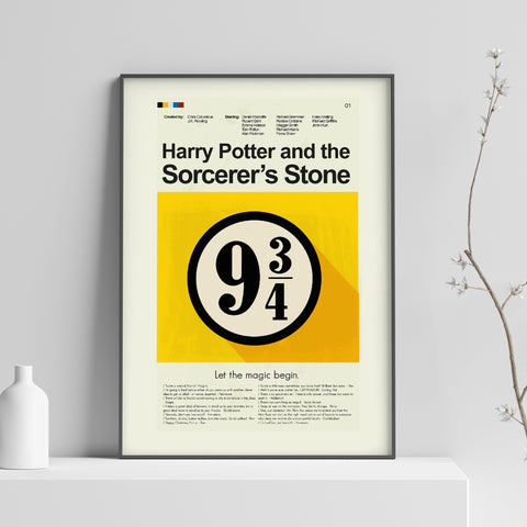 Harry Potter and the Sorcerer's Stone Inspired Mid-Century Modern Print 12x18 | Print only