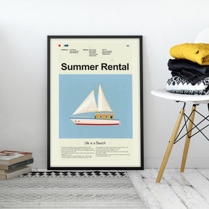 Summer Rental Inspired Mid-Century Modern Print 12x18 | Print only