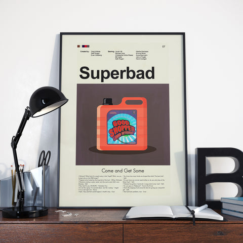 Superbad Inspired Mid-Century Modern Print 12x18 | Print only
