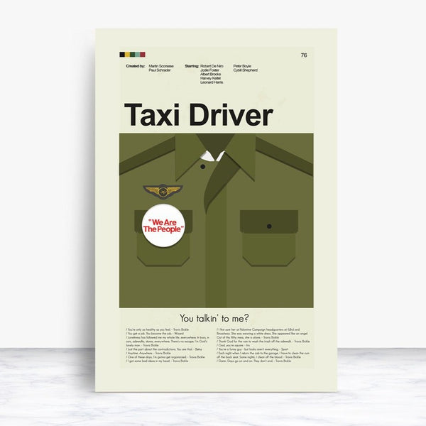 Taxi Driver Inspired Mid-Century Modern Print 12x18 | Print only