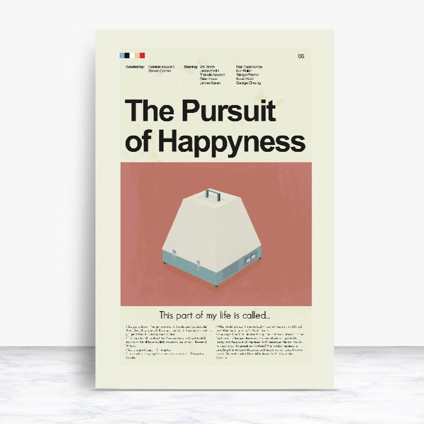 The Pursuit of Happyness Inspired Mid-Century Modern Print 12x18 | Print only