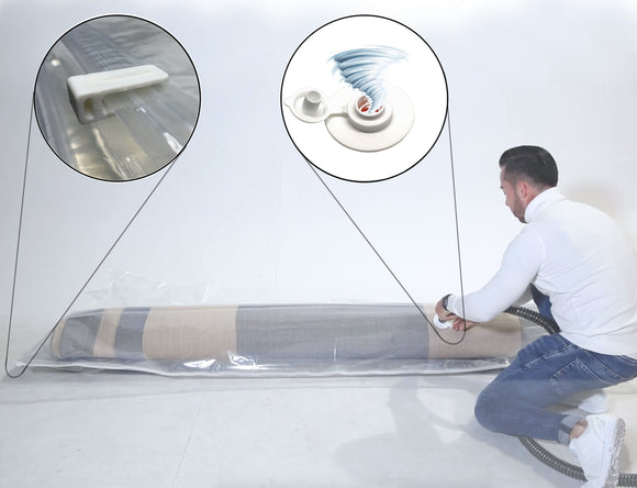 SIRENA | Sheath / Vacuum Bag to storing and decontaminating carpets and mattress with turbo valve
