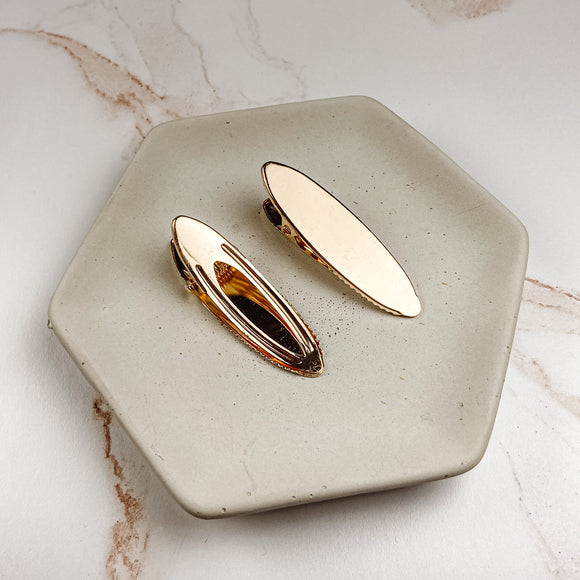 61 x 18mm Gold Oval Hair Clips