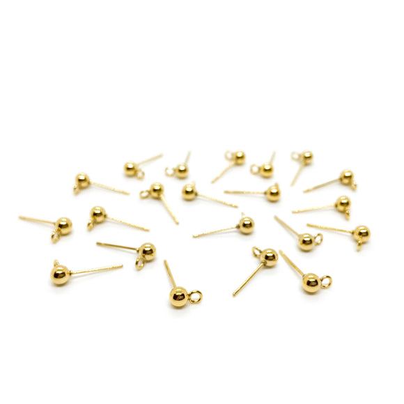 4mm Stainless Steel Gold Earring Posts