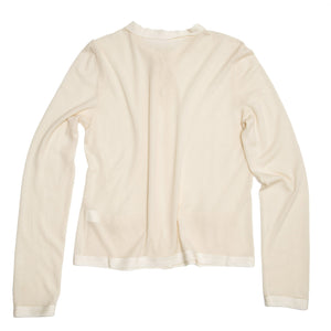 Find an authentic preowned Lanvin Ivory Cashmere Cardigan, size XL at BunnyJack, where a portion of every sale goes to charity.