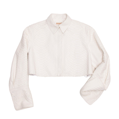 Alaia Ivory Python Cropped Jacket, size 40 (French)