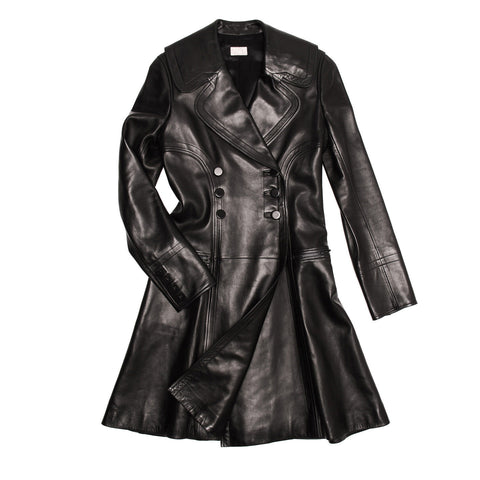 Alaia Black Leather Trench Coat, size 42 (French)