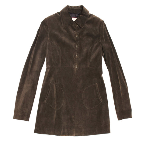 Alaia Grey Brown Suede Jacket, size 42 (French)