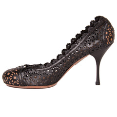 Find authentic preowned Azzedine Alaia Black Perforated Leather Shoes size 40 (Italian) at BunnyJack, where a portion of every sale goes to charity.