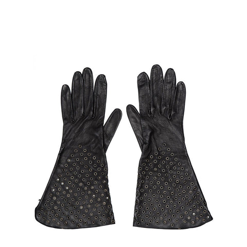 Alaia Black Leather Gloves With Eyelets