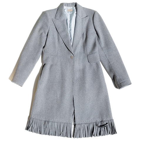 Alaia Grey Wool Fringe Coat, Size 44 (French)