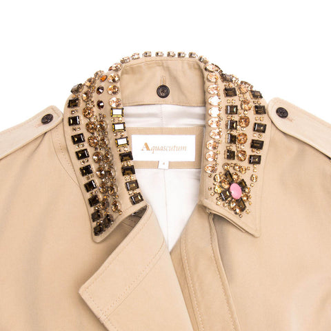 Khaki Jewel Collar Trench Coat