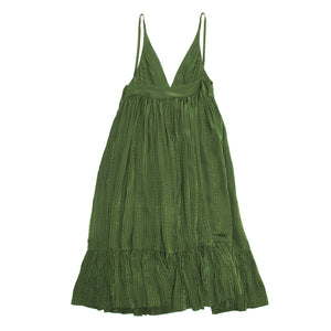 Balenciaga Green Silk Long Dress, Size 38 (French)