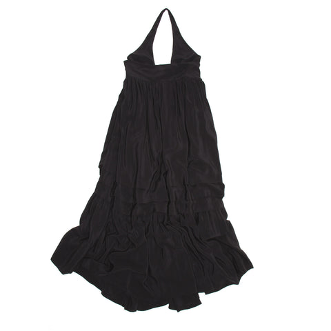Balenciaga Black Silk Long Halter Dress, Size 42 (French)