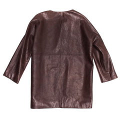 Balenciaga Brown Leather Collarless Coat, Size 42 (French)